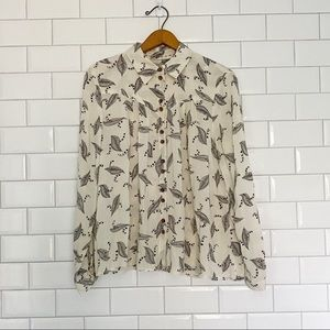 Anthropologie Maeve Feather Print Button Down Top